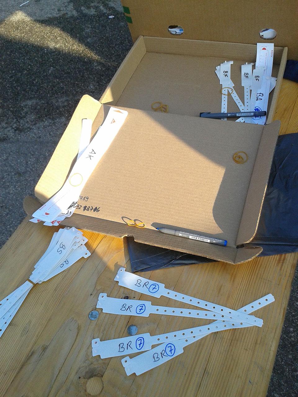 So sehen die Armbänder für das Nummernsystem aus. Foto: PeaceWatch.de/M. Lindner
